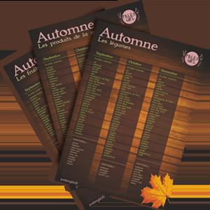 fiches complètes des produits paléo de saison pour l'automne