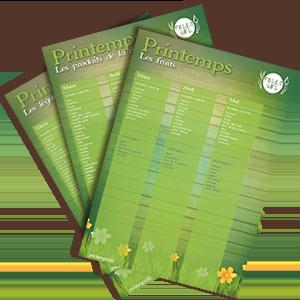 fiches complètes des produits paléo de saison pour le printemps